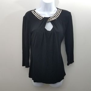 * Venus Black Stretch Knit Top Beaded Details